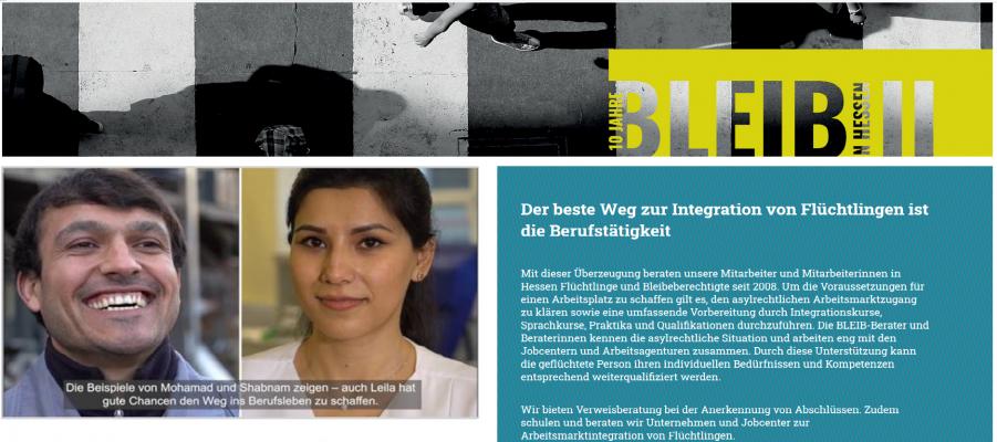 Startbild der Webseite BLEIB in Hessen 2